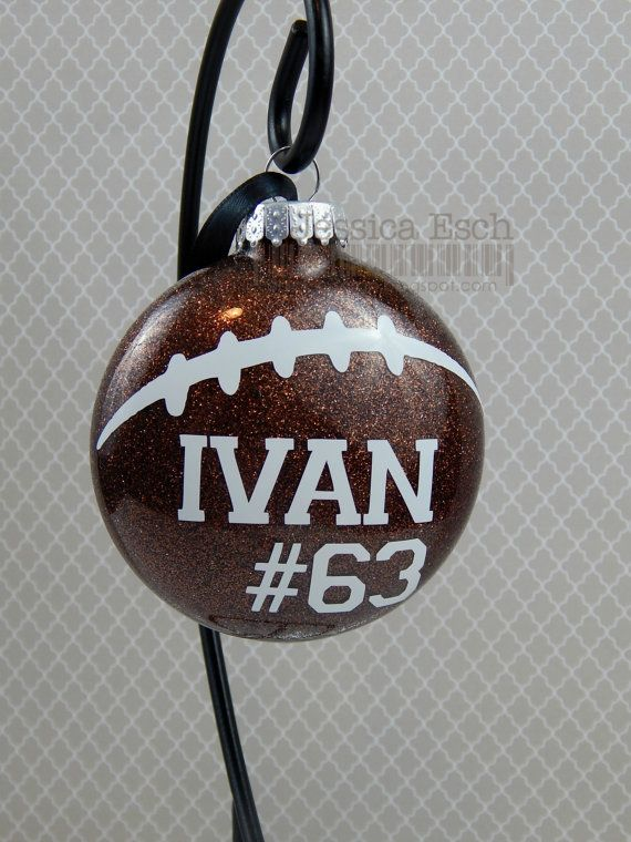 Football Ornament Personalized Glass Ornament Christmas Tree Etsy Vinyl Christmas Ornaments Christmas Ornaments Vinyl Ornaments