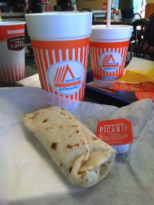 Whataburger Sausage Egg and Cheese Taquito and Large Iced