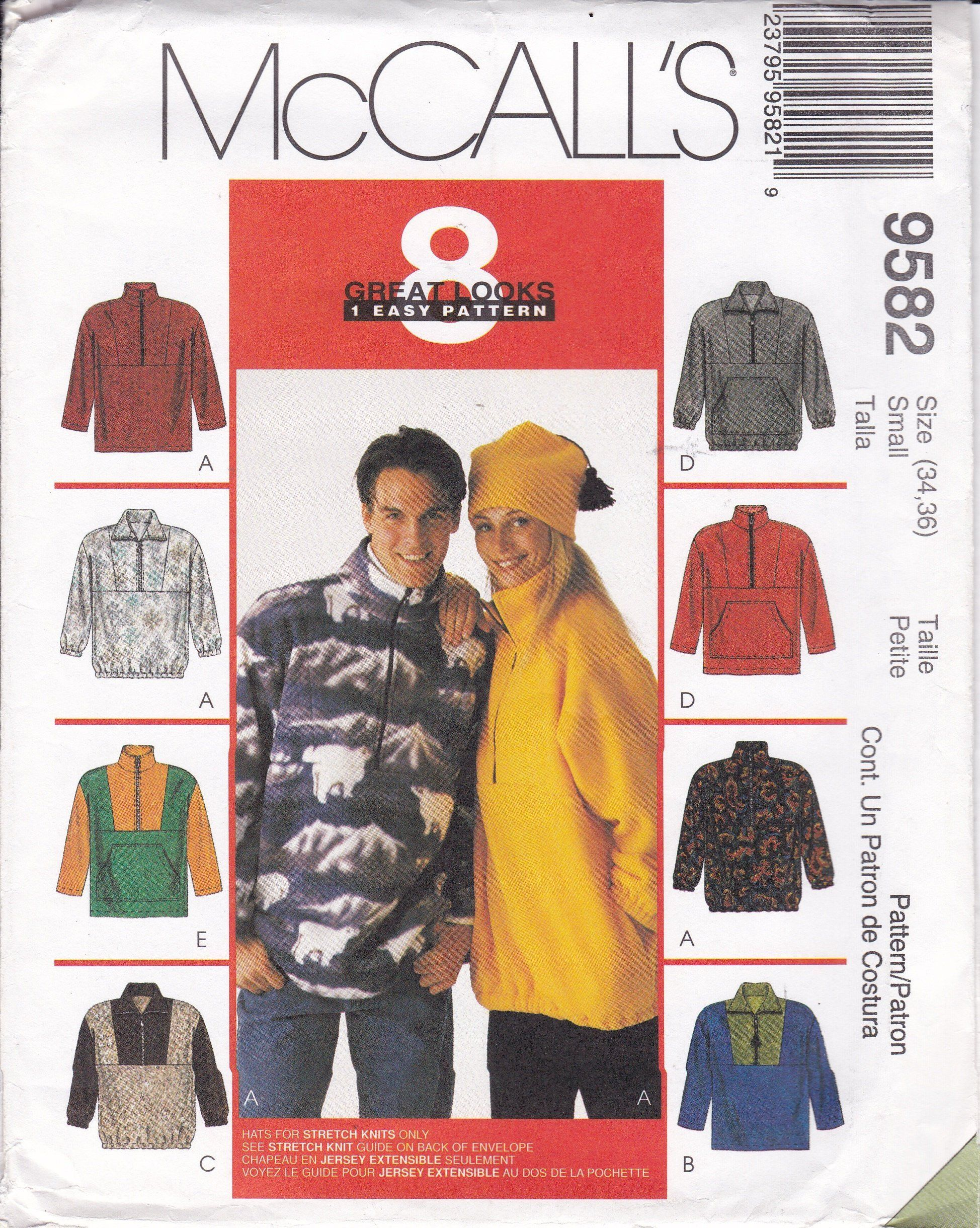 ba29c64a12 FREE US SHIP McCall's 9582 Unisex Men Miss Adult Sewing Pattern ...