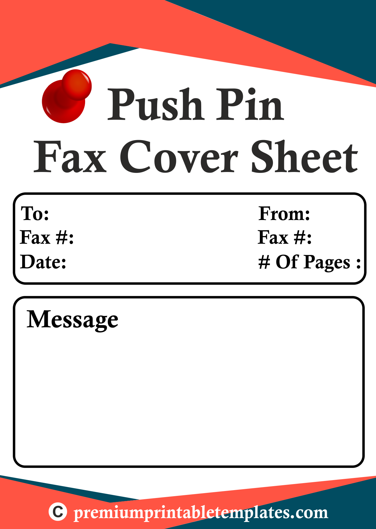 Fax Cover Sheets Templates This Printable Fax Cover Sheet Shows A Large Pushpin On A Sheet Of .