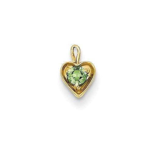 14k White Gold August Synthetic Birthstone Heart Charm Pendant