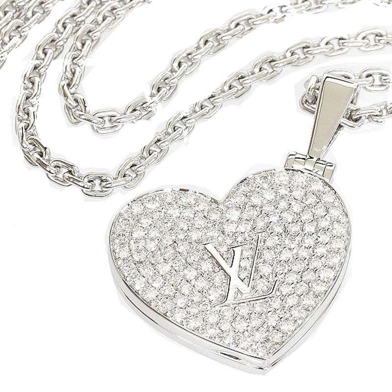 bc9a50d9998b Louis Vuitton 18K White Gold Pave Diamond Necklace Pendant