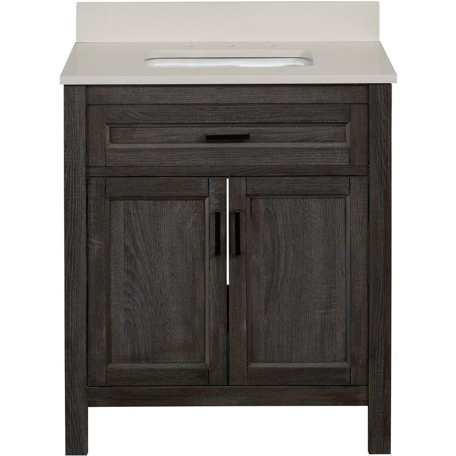 Scott Living Durham Gray Single Sink Bathroom Vanity With Engineered Stone Top Common 30 In X 22 Actual