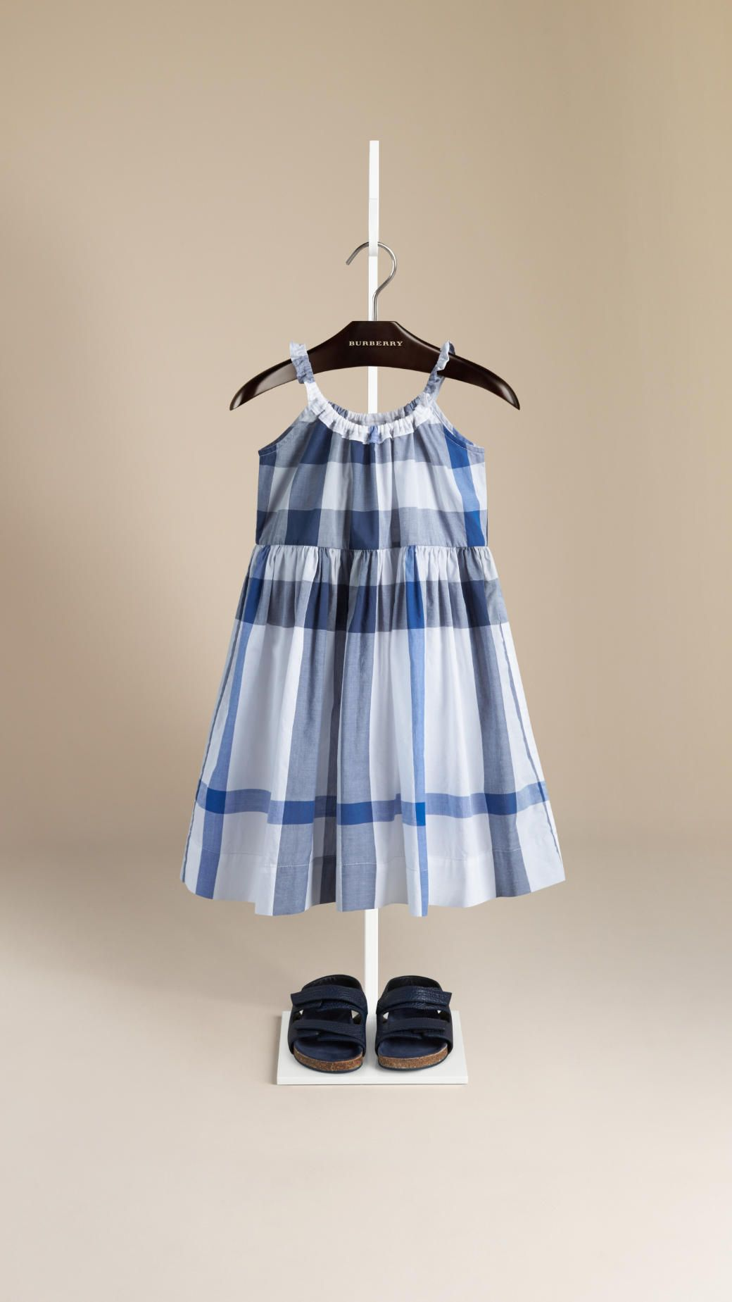 Frill Detail Check Cotton Dress Burberry