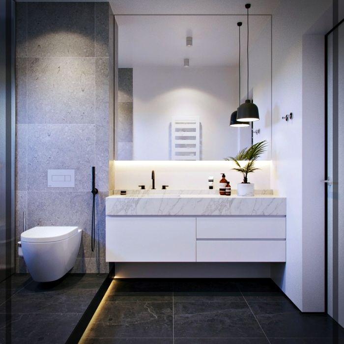 Diseño de cuartos de baño en color blanco y gris ...