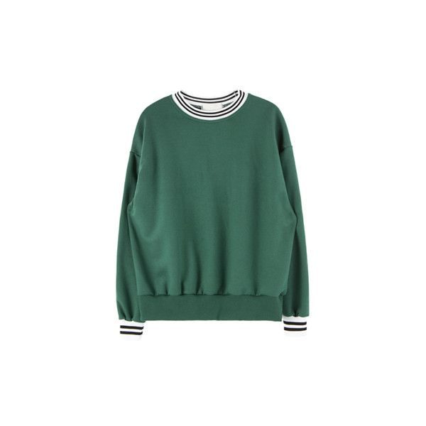 밴딩 포인트 스웨트 셔츠 (€25) ❤ liked on Polyvore featuring tops, sweaters, green, jumpers, green jumper, green top and green sweater