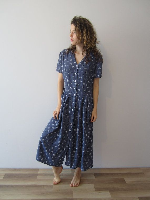 90's Hazy Blue Maxi Dress Flowers Print Short Sleeve Button Up Vintage Summer Shirt Dress Medium Size