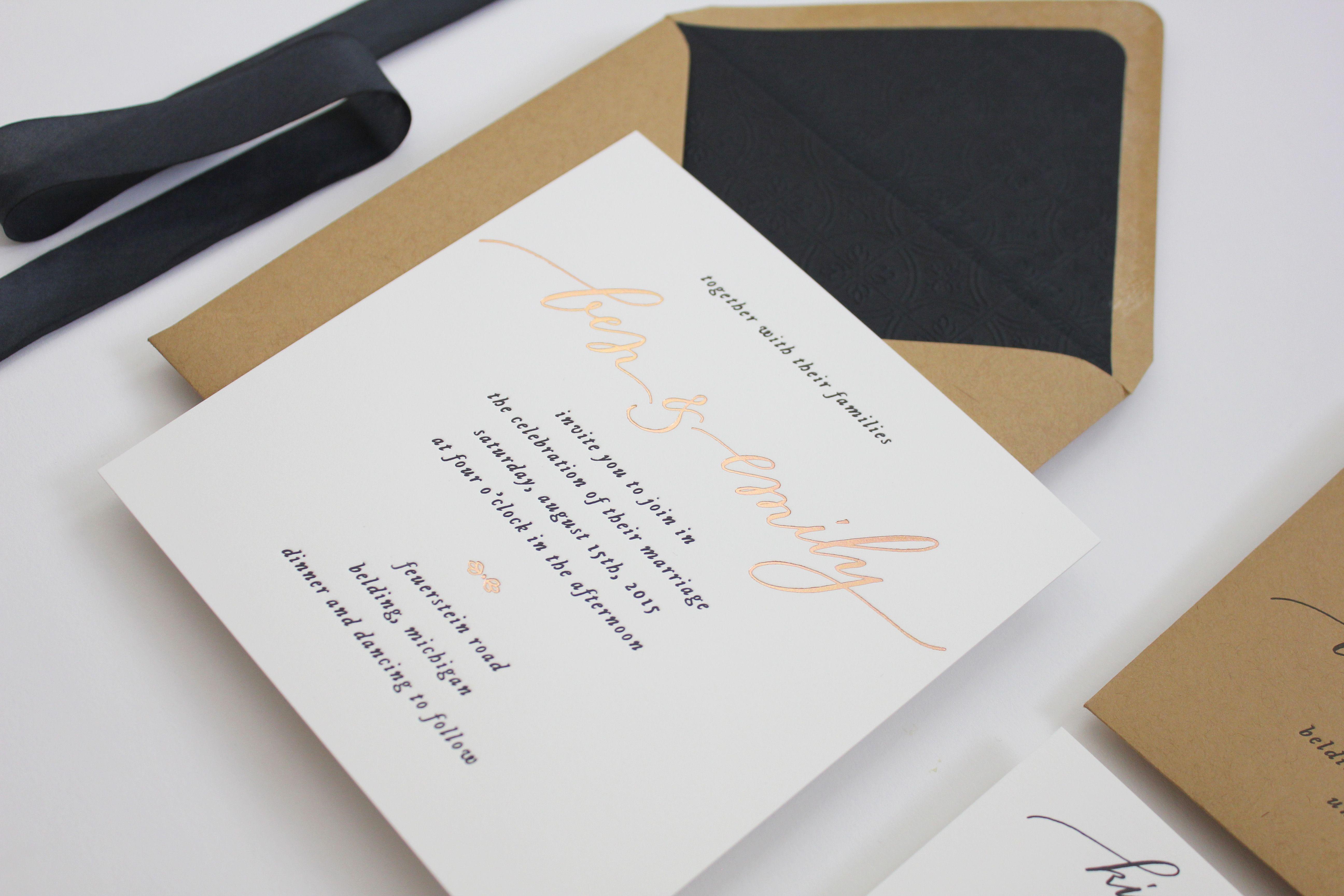 Emily & Ben\'s Classic Letterpress + Rose Gold Foil Weddding ...