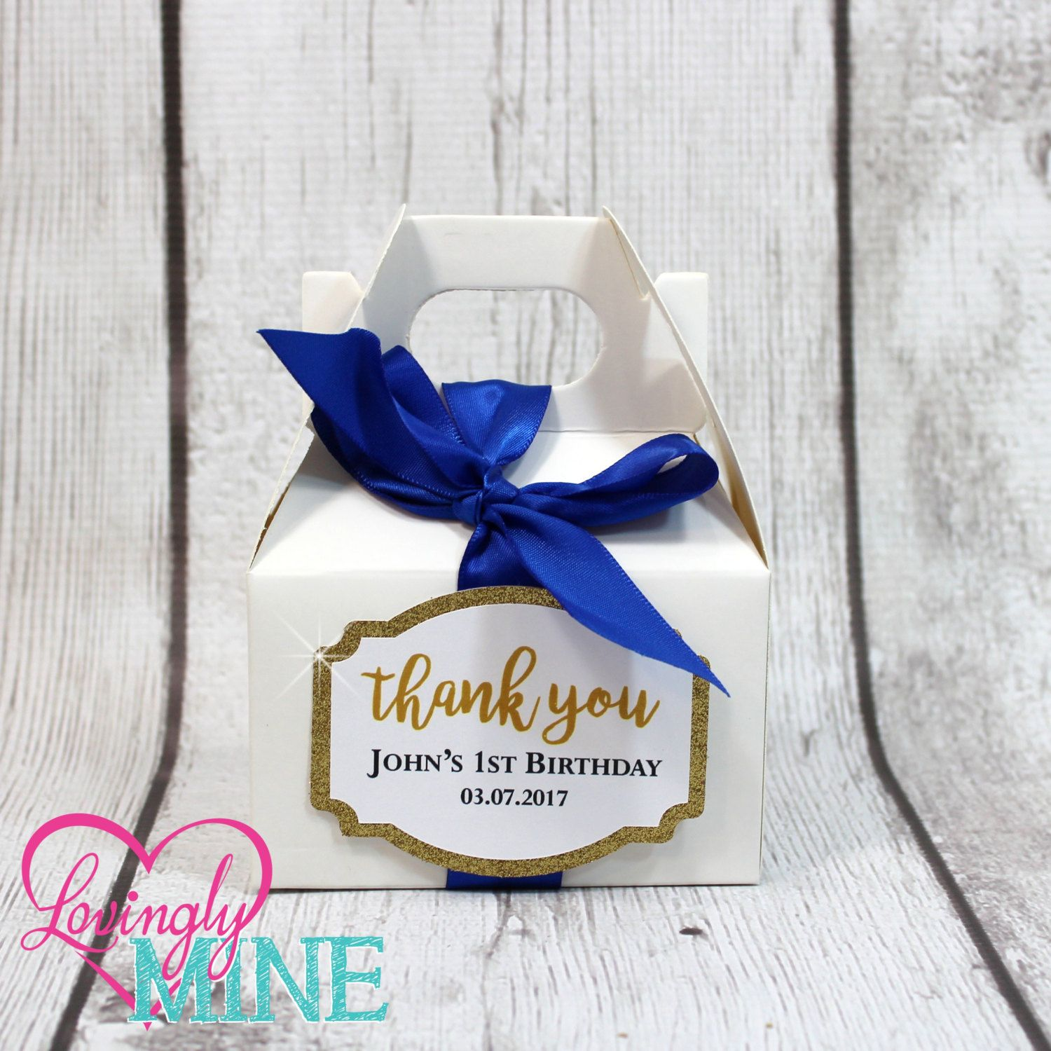 Mini Gable Favor Boxes - Set of 10 - Royal Blue, Glitter Gold and ...