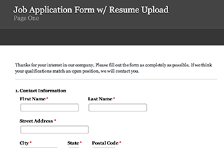 Job Application Form Example  Create A Job Application Form Using