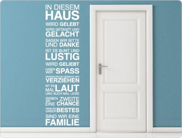"""Wandtattoo Wohnzimmer Spruch """"In sem Haus"""" Wandsticker"""