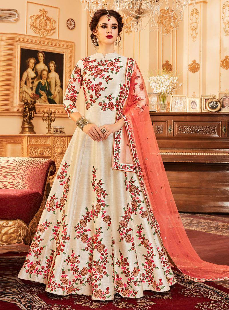 e2b46813f3 Beige Silk Readymade Long Anarkali Suit 124347 | Anarkali in 2019 ...
