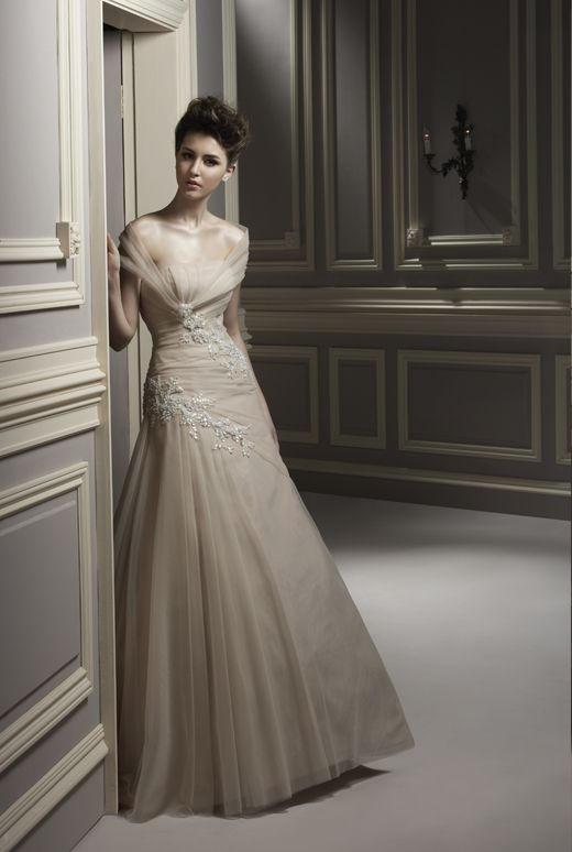 A Line Celtic Wedding Dresses Adorable Ivory Colored Floor Length Gown With Lace Decoration