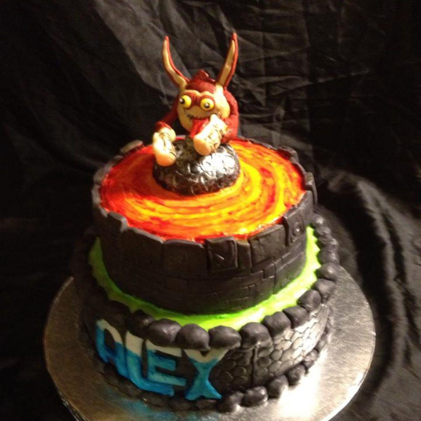 Skylander Birthday Cake Parker likes the lava top Birthday party