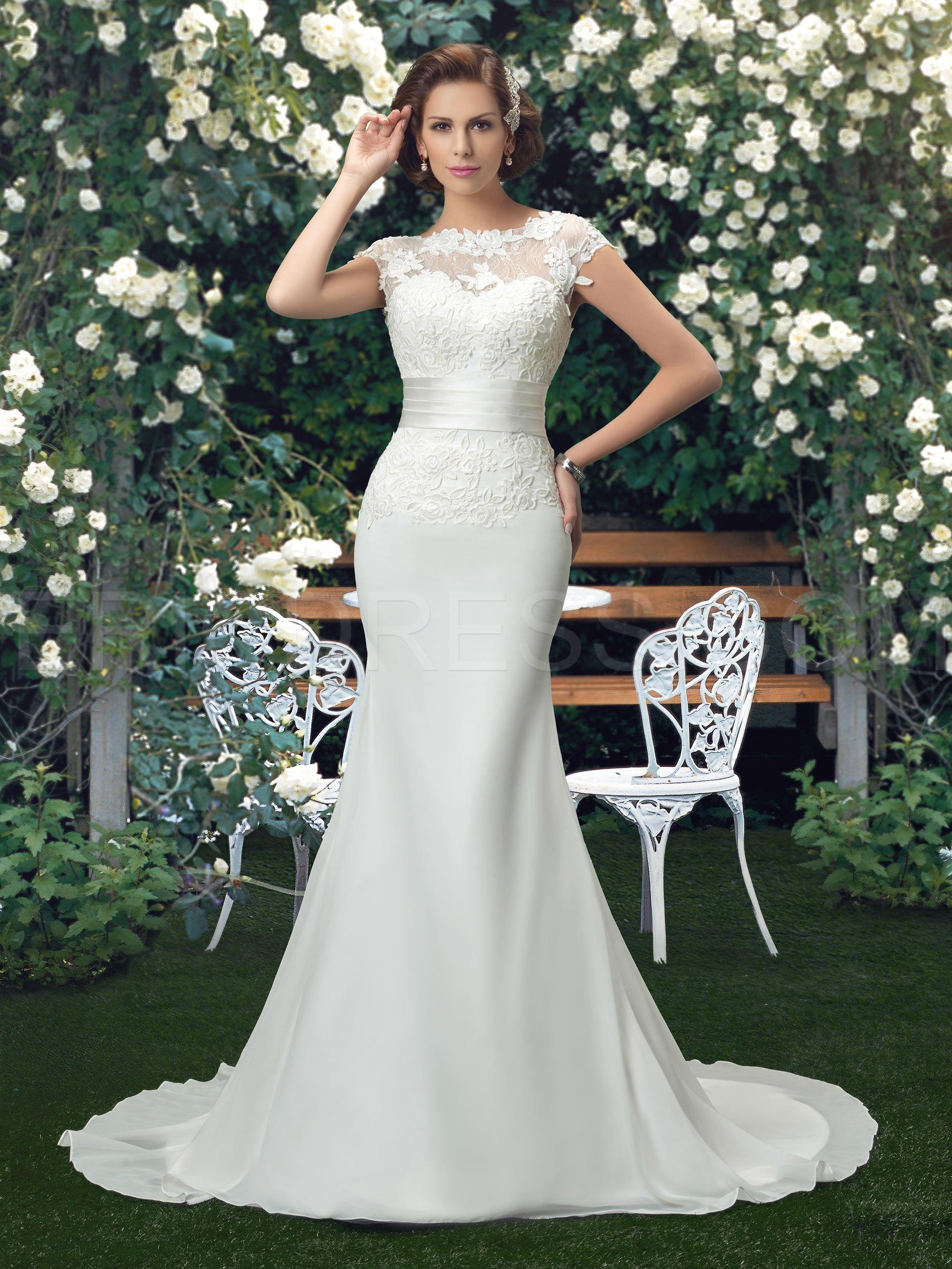 Sin espalda de encaje Sirena trompeta vestido de novia | Trumpets ...