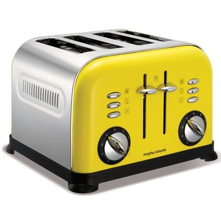 Morphy Richards 44797 Yellow Accents 4 Slice Toaster Dunelm Students Leavinghome Movingout Yellow Toaster Toaster Orange Kitchen