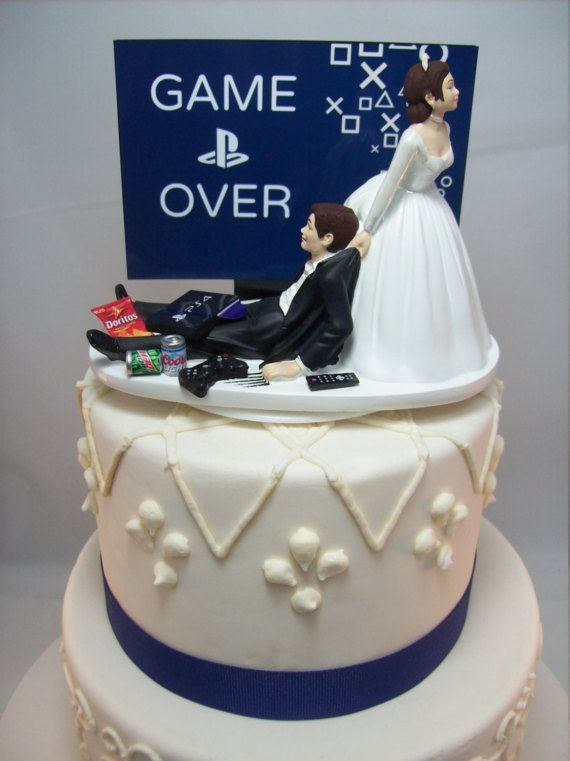 GAME OVER PlayStation Funny Wedding Cake Topper Video Game Groom's (Can Personalize Your Names) Gamer Gaming Junkie Brown Hair Awesome
