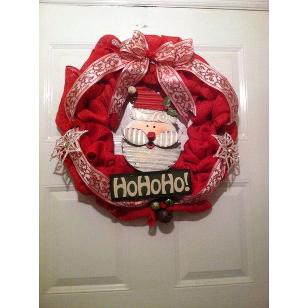 Rustic Christmas Wreath ($75) ❤ liked on Polyvore featuring home, home decor, holiday decorations, welcome plaque, santa wreath, jingle bell wreath, rustic holiday decor and snowflake wreath