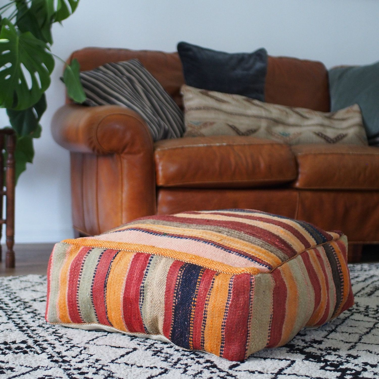 Red Striped Kelim Floor Cushion Pouf