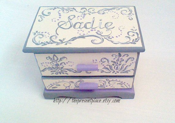 gift for the flower girl purple treasure chest girl Christmas gift personalized gift purple and gold Hand painted Jewelry box