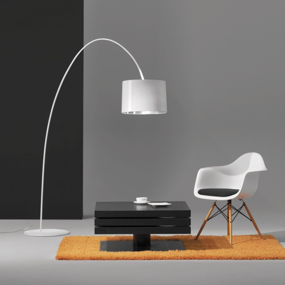 Moderne Stehlampe braun E27 Schlafzimmer Stoff Wohnzimmer