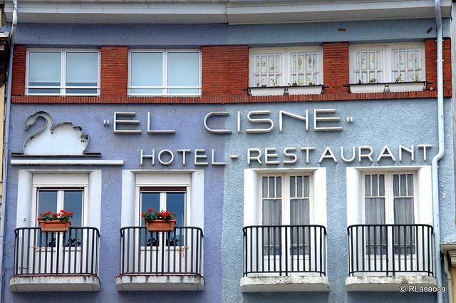 "Plaza del Castillo, Pamplona by Rufino Lasaosa, via Flickr :: Fachada del antiguo Hotel-Restaurant ""El Cisne"", Pamplona"
