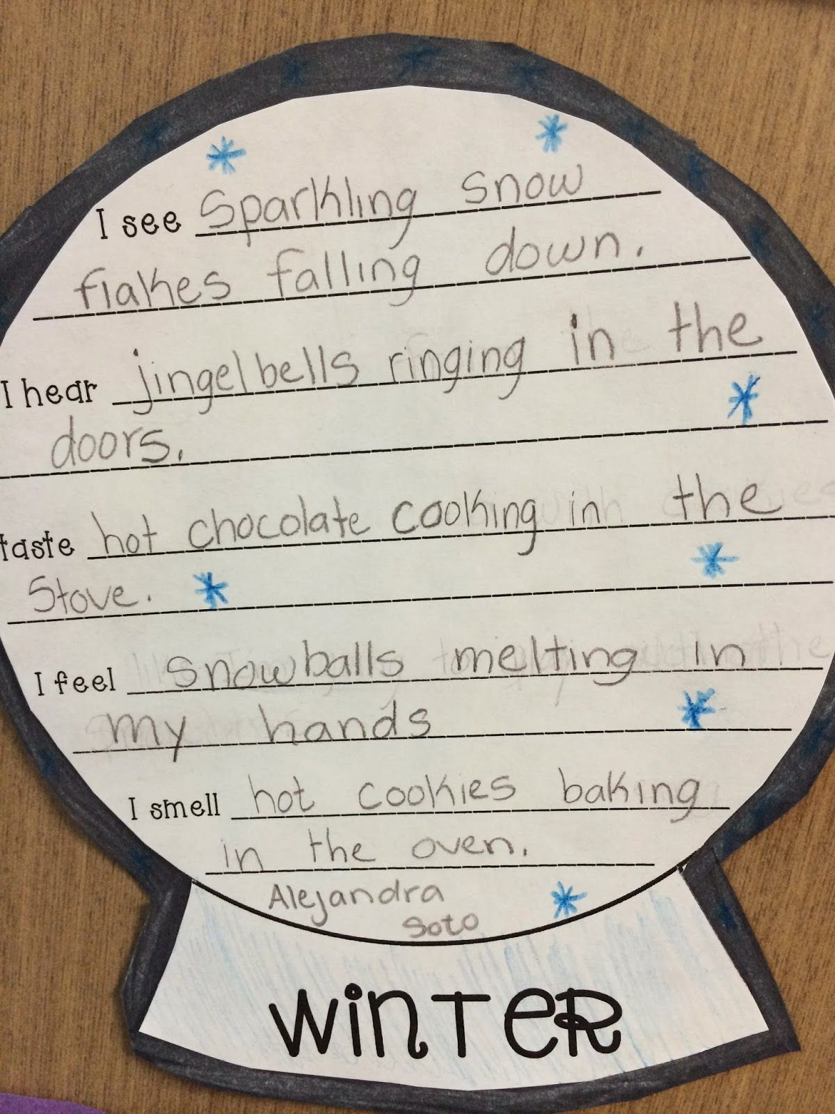 Freebie 5 Senses Poem Snow Globe Template