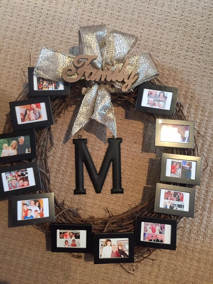 Picture frame memories wreath. Wreath, ribbon, and letter are from ...