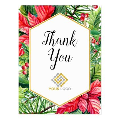 Christmas Thank You Logo Business Postcard | Zazzle.com #businessthankyoucards