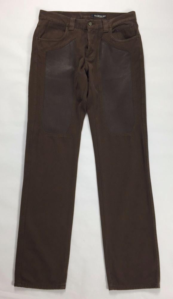 Jeckerson pantalone WP002U w33 46 48 gamba dritta slim usato marrone pelle nappa