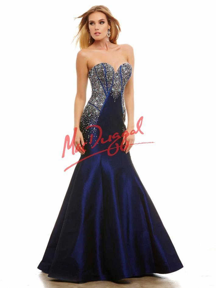 Midnight Blue Prom Dress Strapless Gown Mermaid Dress Mac