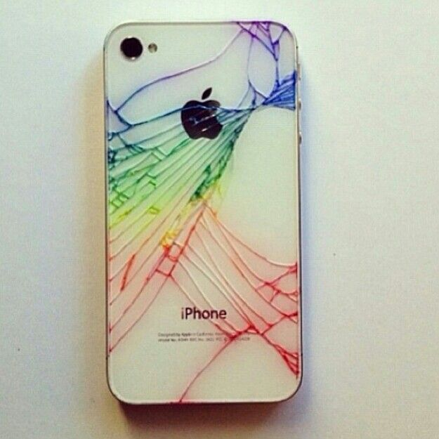 Your iPhone cracked? Worry not, there is always a way t turn nothing into something! One Man's trash is another Man's precious! Just color it w sharpie!