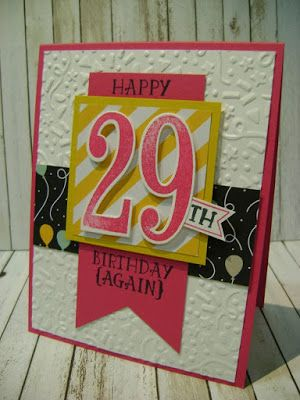 Stampin Studio Up Confetti Embossing Folder Number Of Years Large Framelits Dies 29th Birthday Card