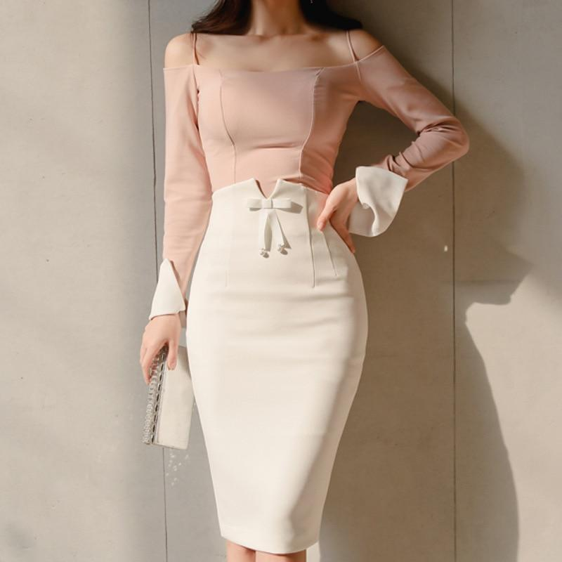 Elegant high waist midi pencil skirt