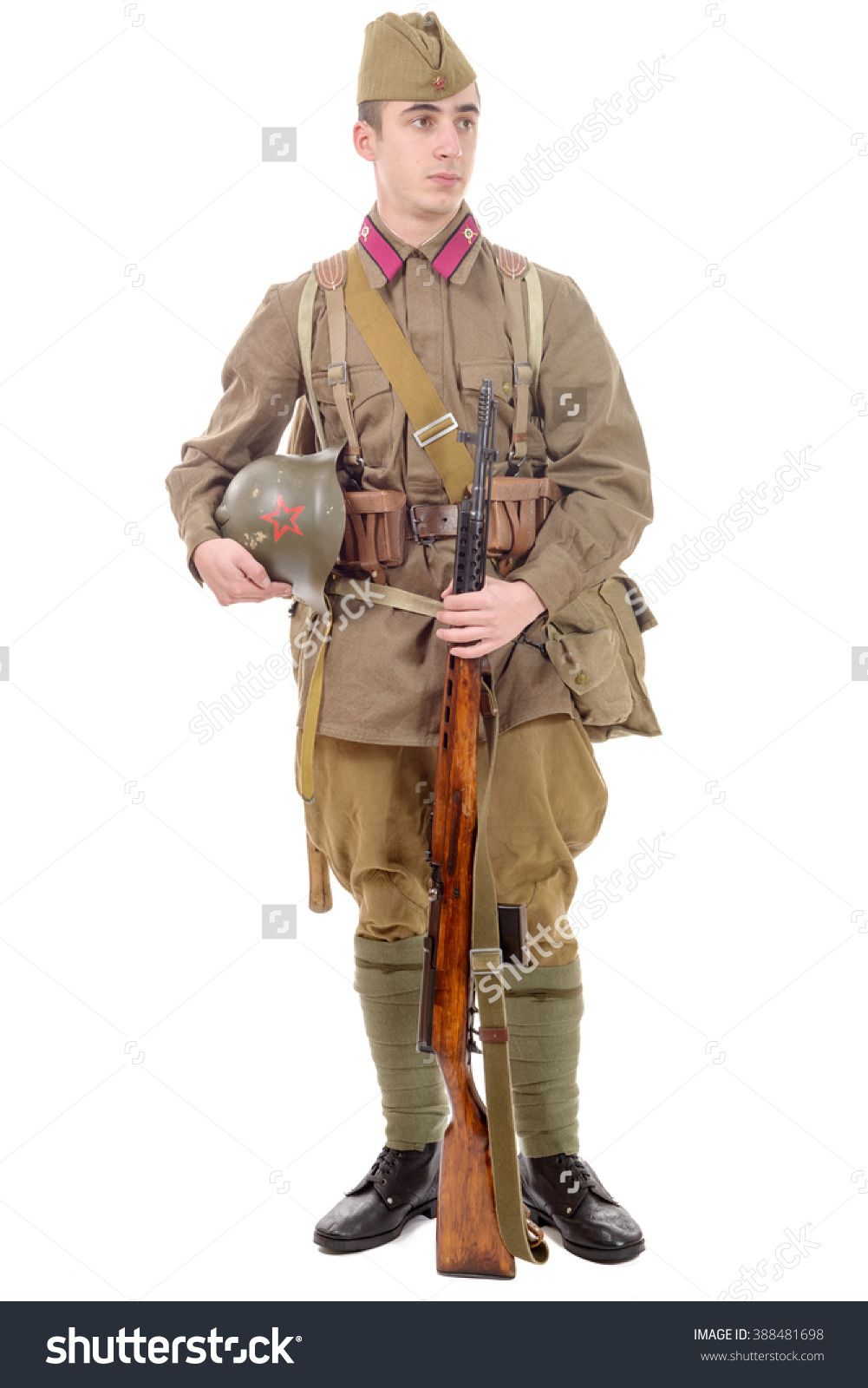A Young Soviet Soldier With Rifle On The White Background Stock Photo 388481698…