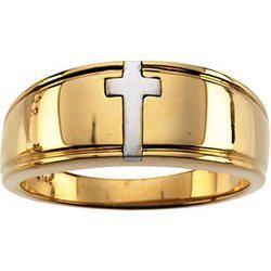 Two Tone Cross Christian Wedding Band Ladies Christian Wedding