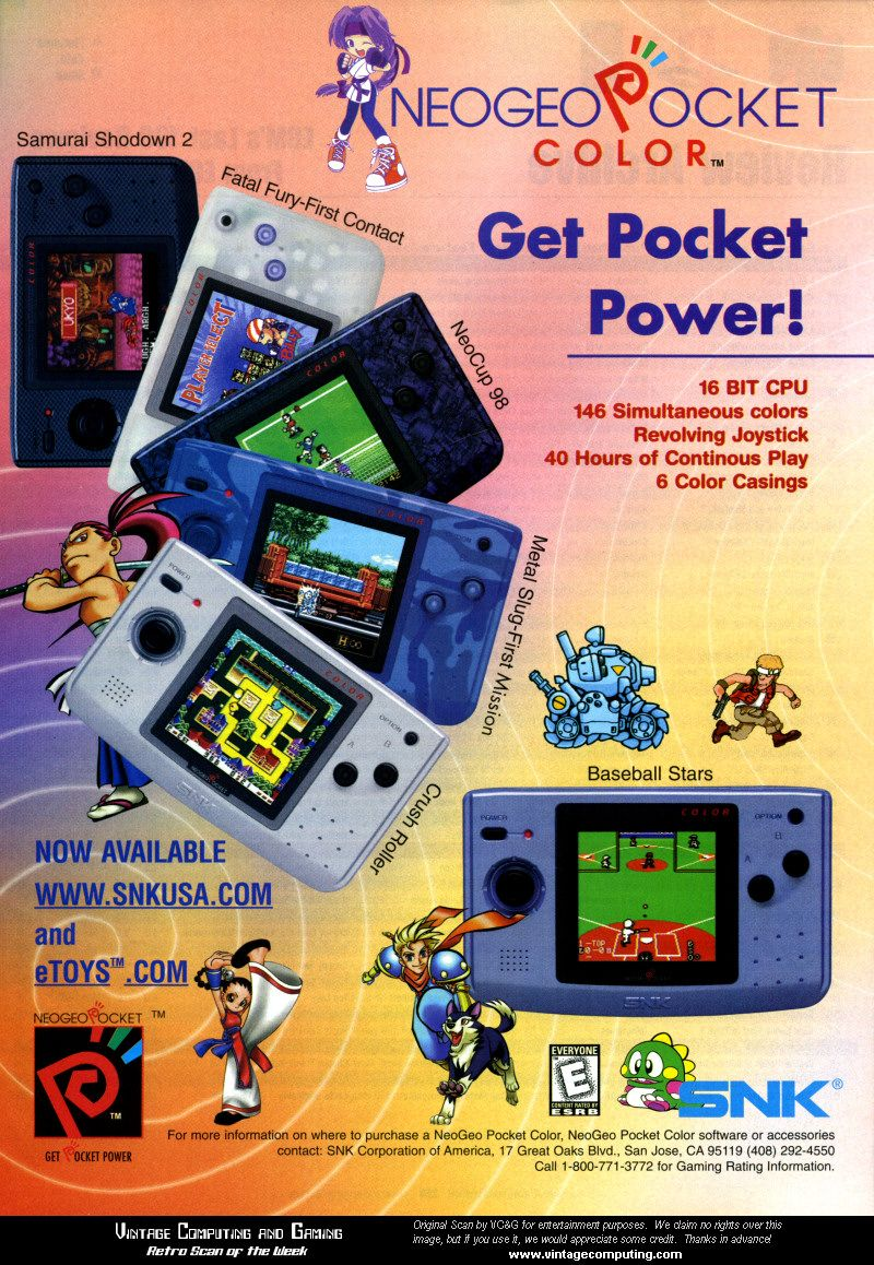 Gameboy color ad - Neo Geo Pocket Color Ad Retro Arcade Mania Pinterest Colours Pockets And Neo Geo