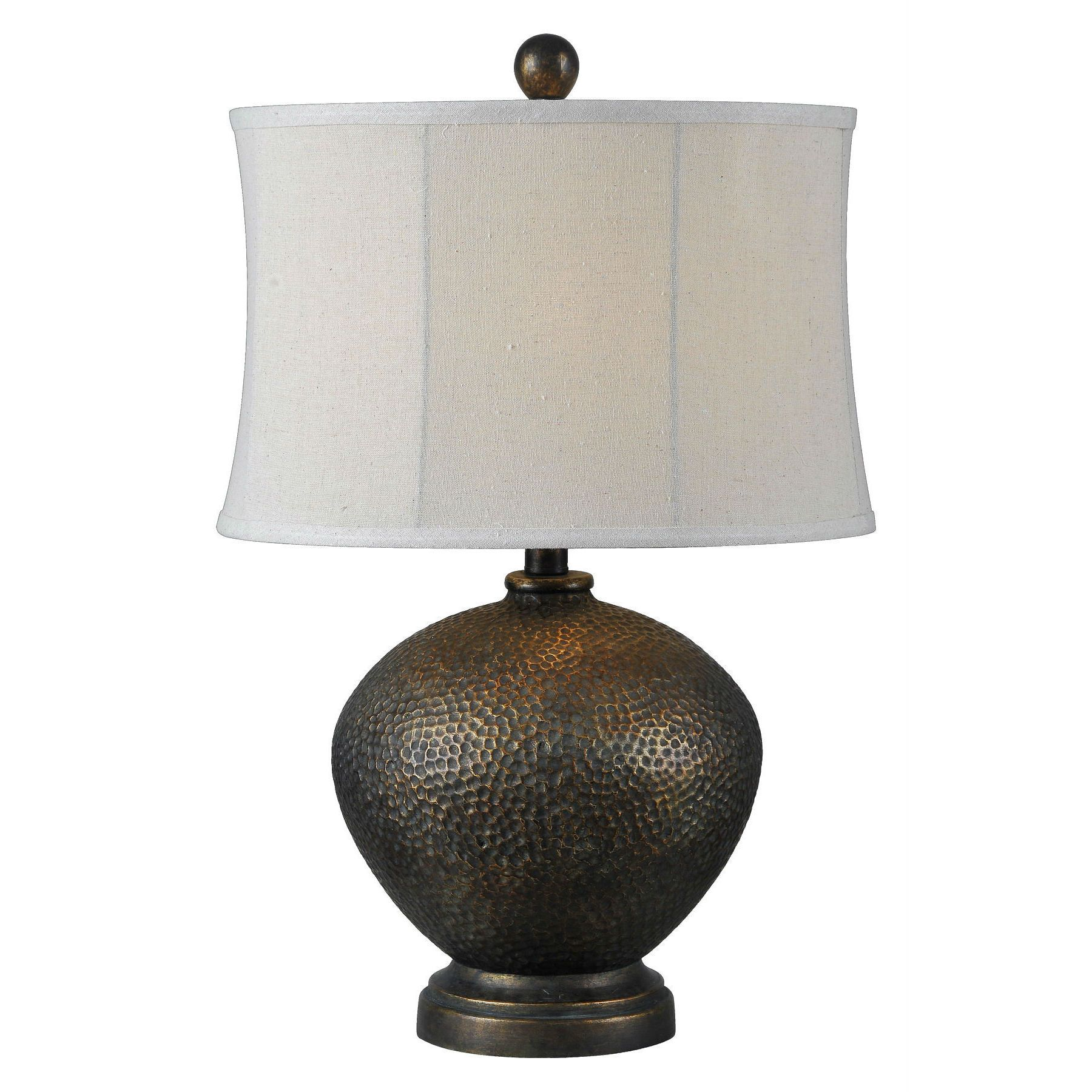 Attractive A Perfect Fit For Your Lodge Collection, This Hammered Metal Table Lamp In  Oil