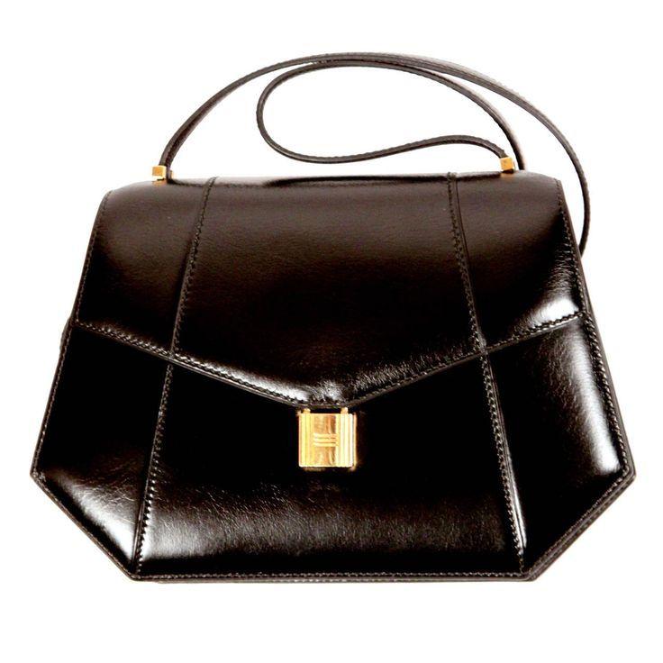 dc330774712 1970 s HERMES black box leather shoulder bag with gold  padlock ...