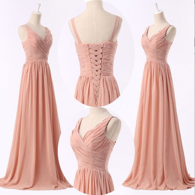 Beautiful Handmade Simple Peach Pink Bridesmaid Dresses Prom Long Dress Could Be Custom Made There Are No Extra