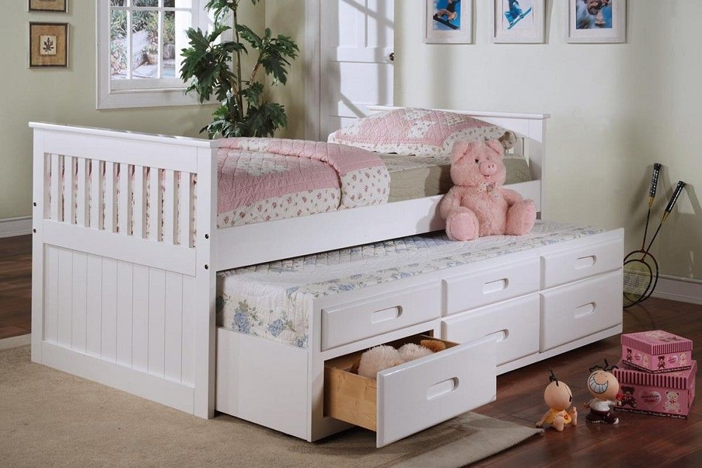 White Twin Captain Bed With Twin Trundle 3 Drawers Daybed With