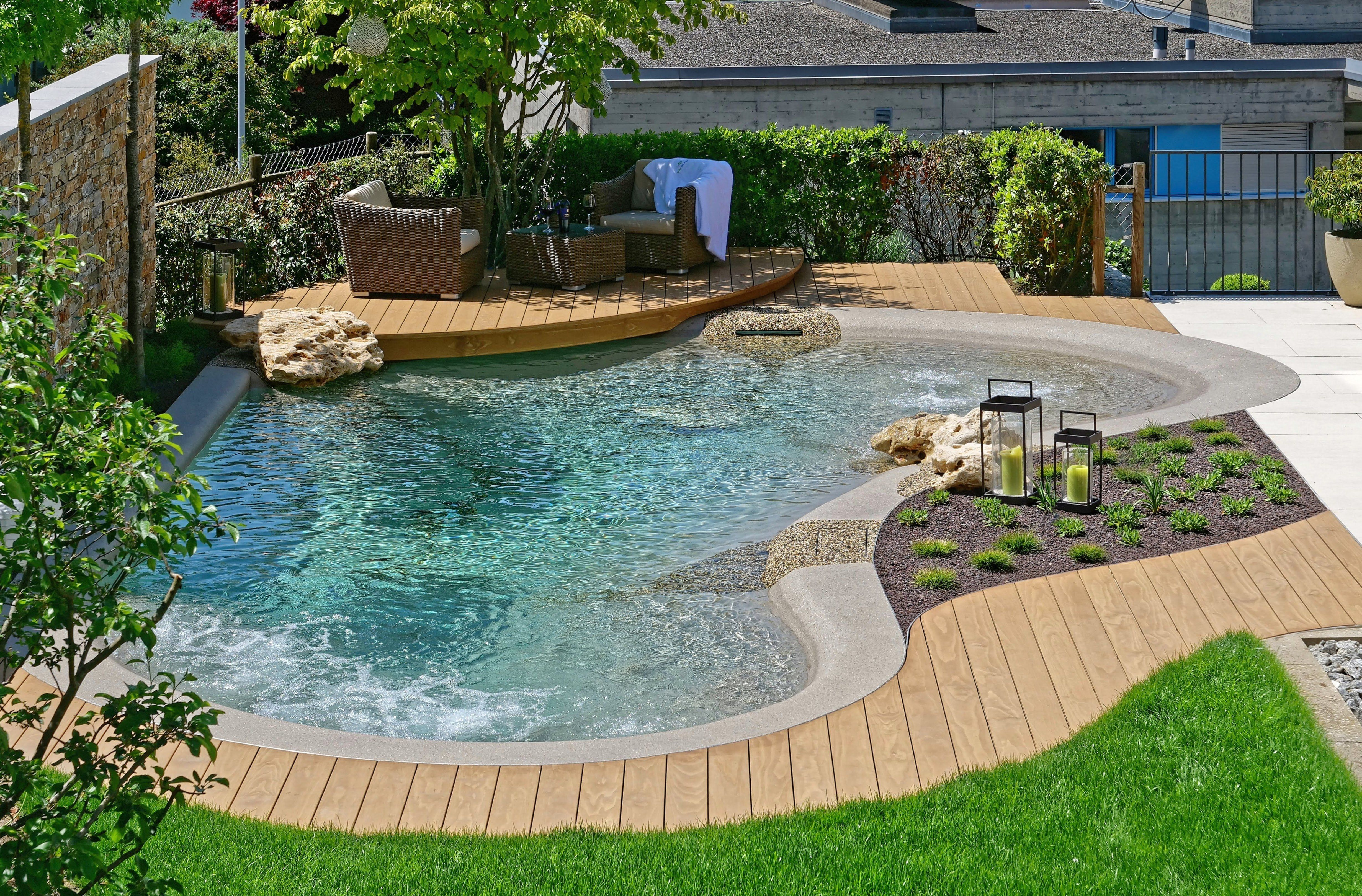 The Biodesign Pool In Every Garden Integrate And Gives This A Distinctive Atmosphere In 2020 Swimming Pools Backyard Pool Landscaping Small Pool Design