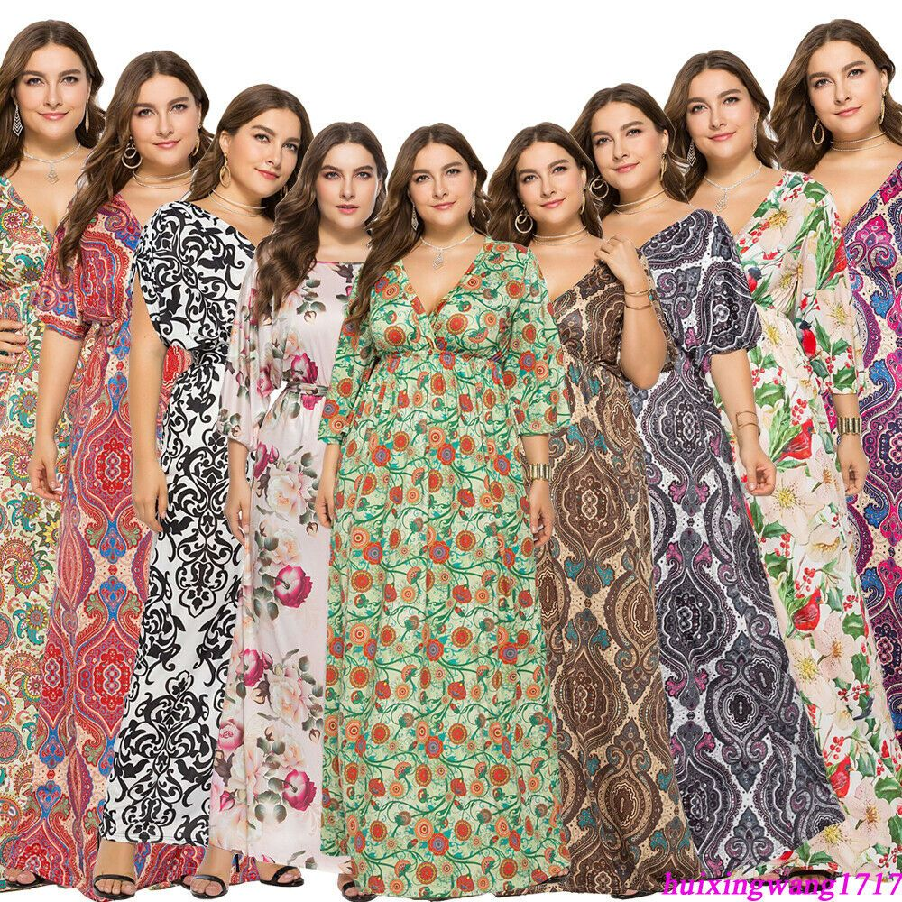 Dresses for Women Floral Print Maxi Dress Casual Cocktail Party Plus Size Long Sundress with Pockets