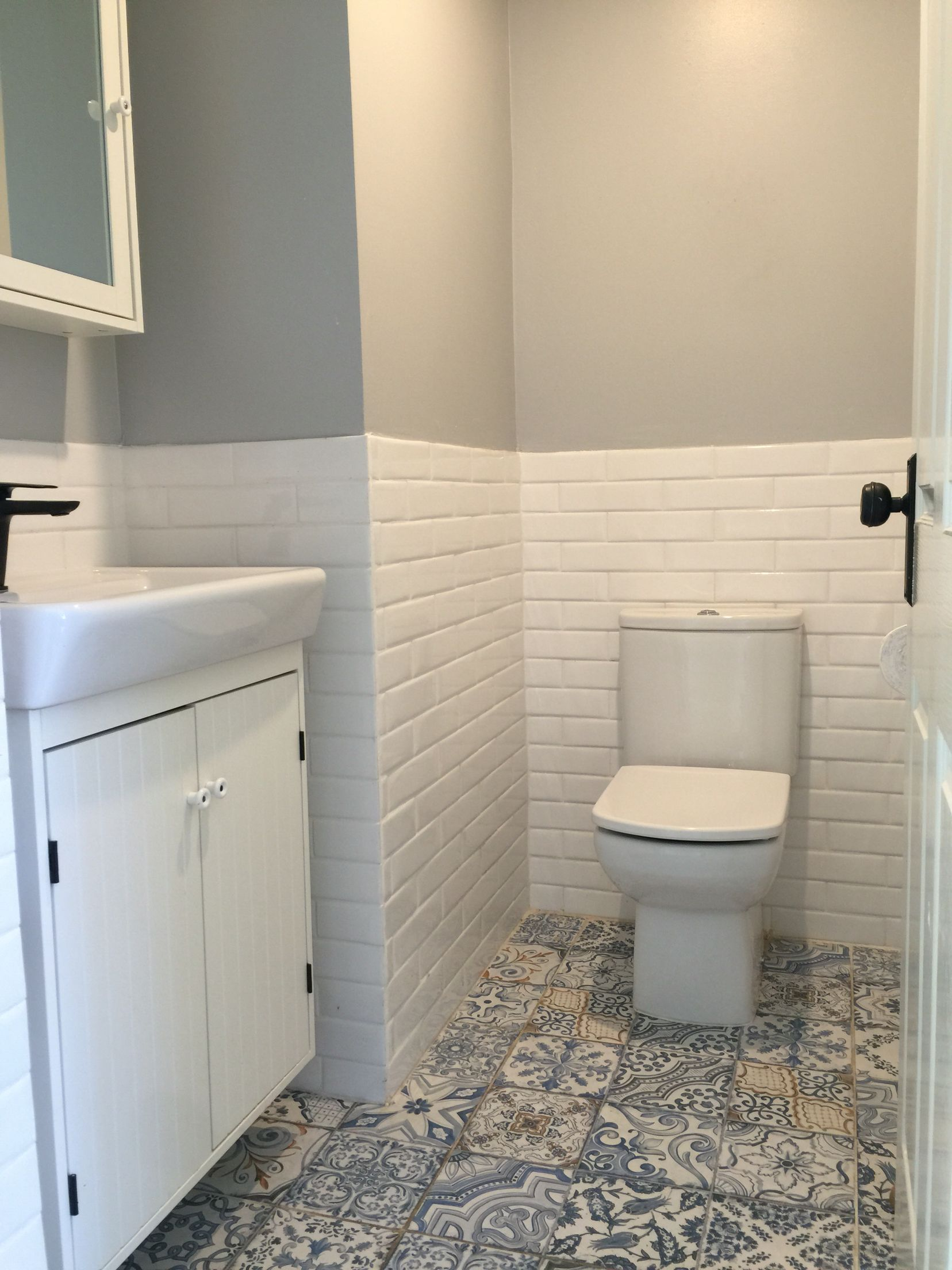 Powder Room Tiles. Vanity & Mirror from Ikea, tiles and tapware from ...