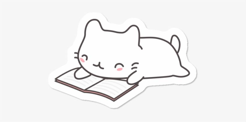 Download Kawaii Cat Reading A Book Dibujo De Gato Kawaii Leyendo Png Image For Free Search More High Quality Free Tr Cat Clipart Kawaii Wallpaper Kawaii Cat