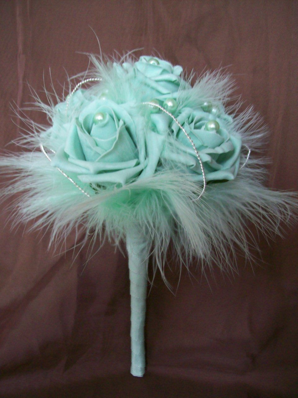 Sea Foam Mint Green Rose Pearl Silver Wire Detail Feather Vintage Bridal Posy Wedding Bouquet