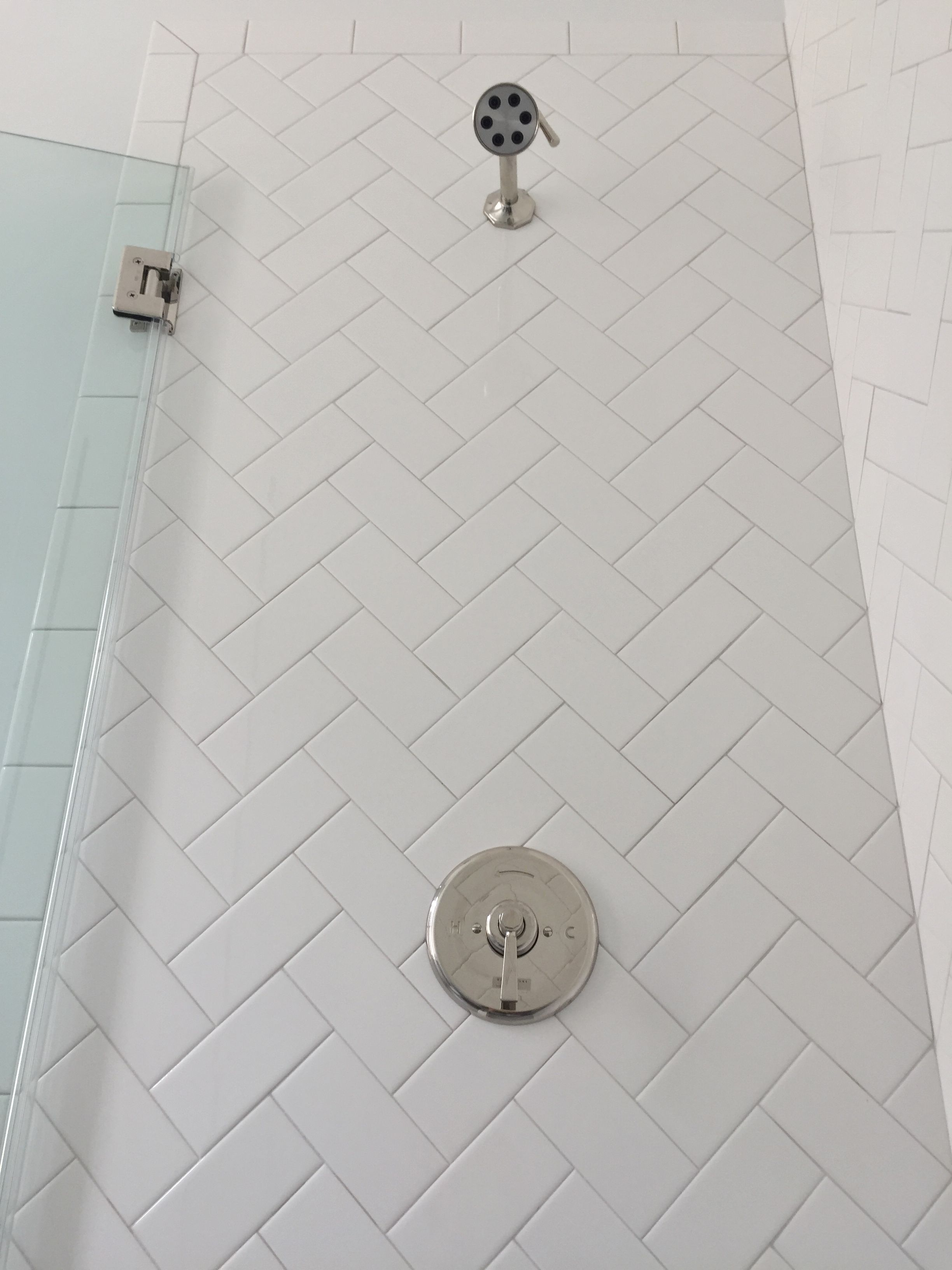 3x6 white subway tile set in herringbone pattern, sterling silver ...