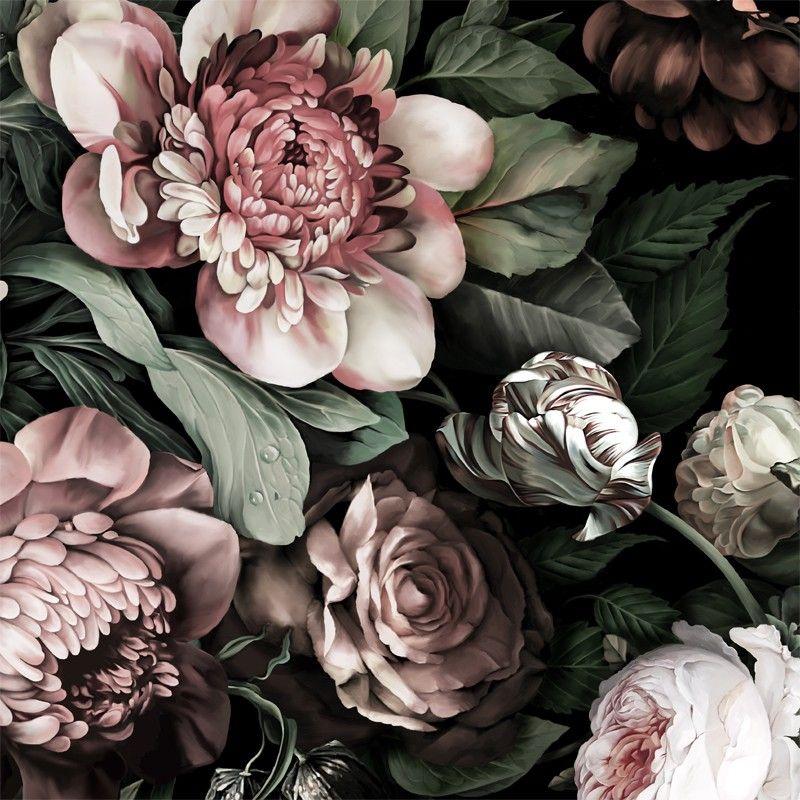 Dark Floral Ii Black Saturated Xl Wallpaper: Dark Floral II Black Saturated Wallpaper