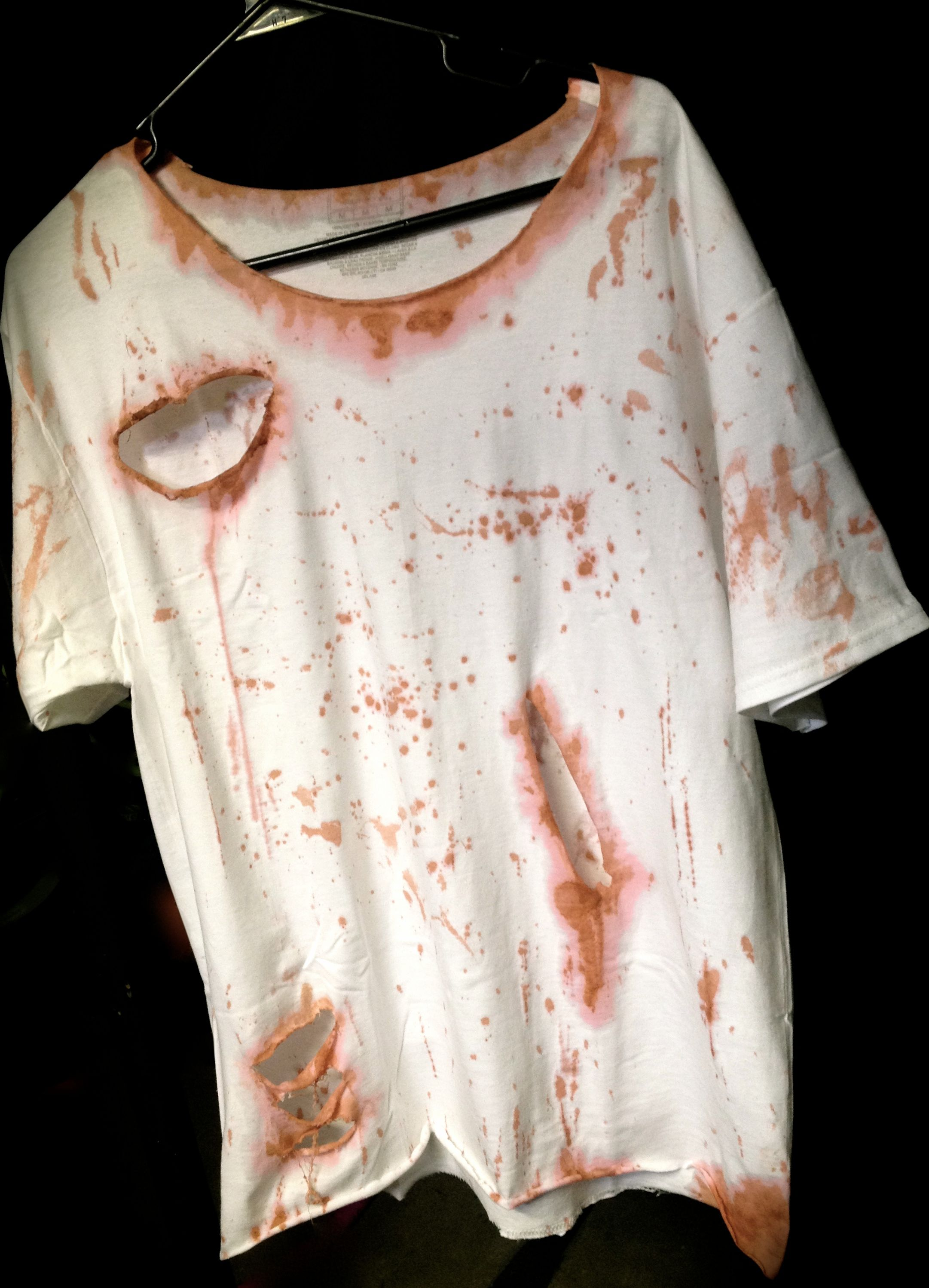 Torn zombie shirt the image kid has it for How to get makeup out of white shirt