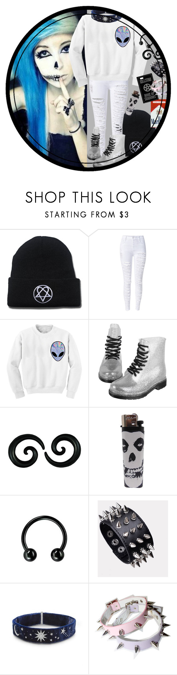 """Glittery Alien"" by chemicalfallout249 on Polyvore featuring WithChic, Chicnova Fashion and alternative"